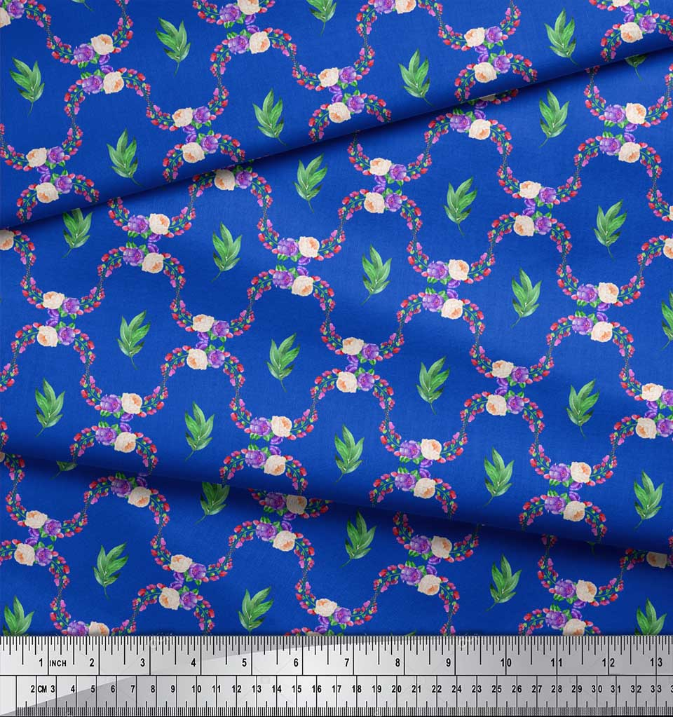 Soimoi-Blue-Cotton-Poplin-Fabric-Leaves-Peach-amp-Blue-Floral-Damask-LA0 thumbnail 4