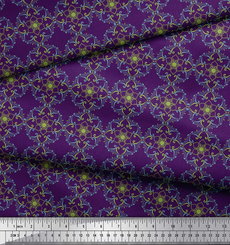 Soimoi-Purple-Cotton-Poplin-Fabric-Artistic-Flower-Damask-Printed-U8o thumbnail 3