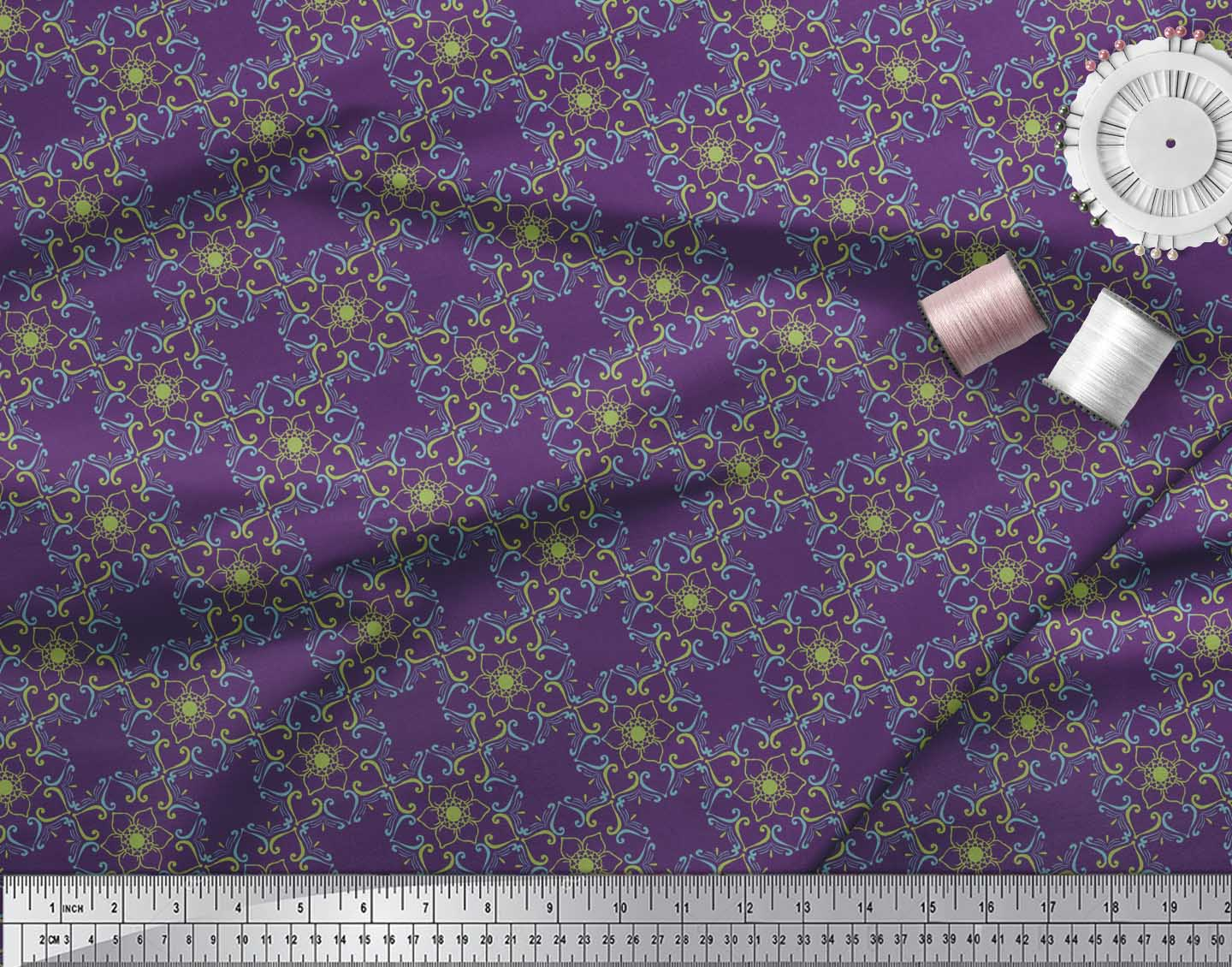 Soimoi-Purple-Cotton-Poplin-Fabric-Artistic-Flower-Damask-Printed-U8o thumbnail 4