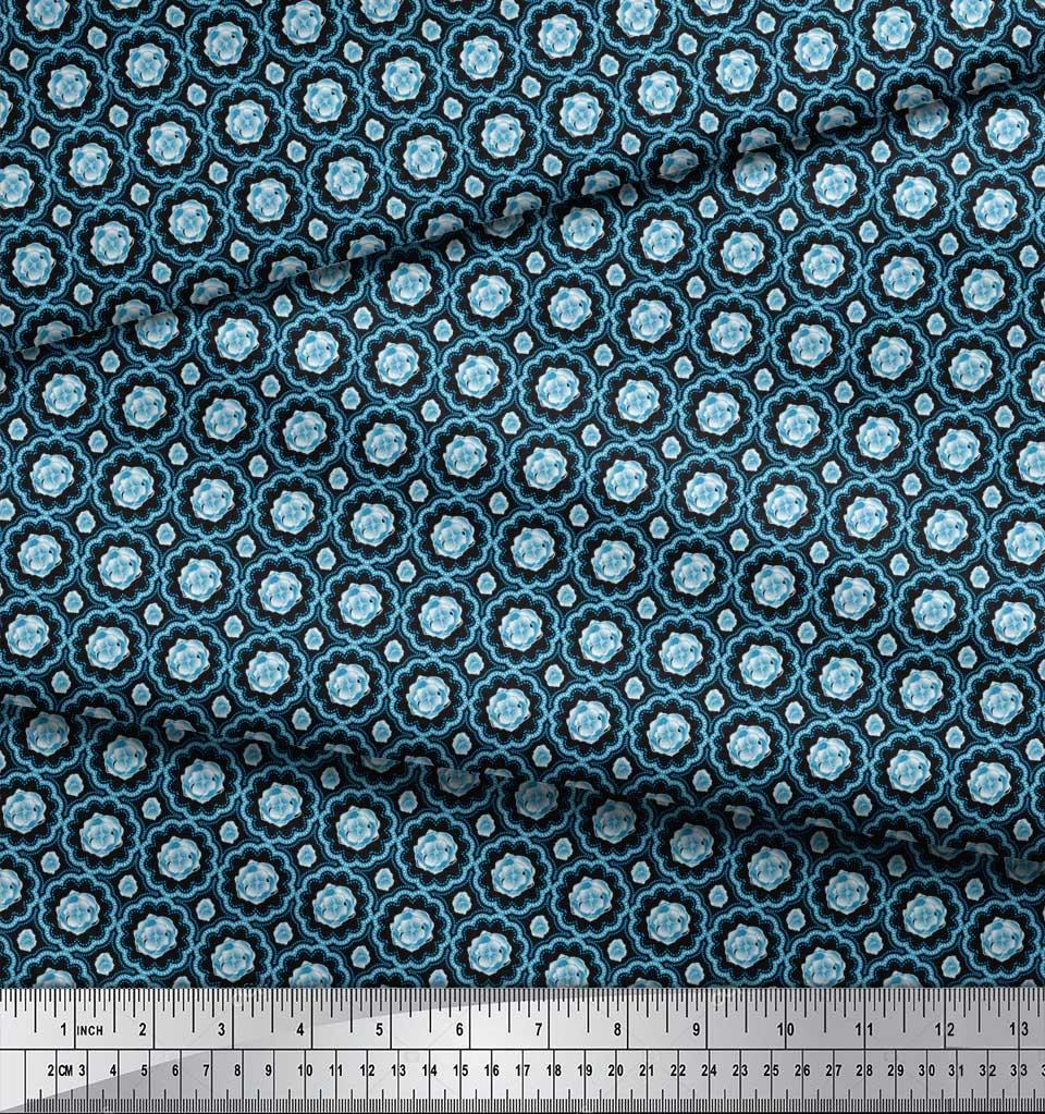 Soimoi-Black-Cotton-Poplin-Fabric-Artistic-Flower-Damask-Printed-ofu thumbnail 4