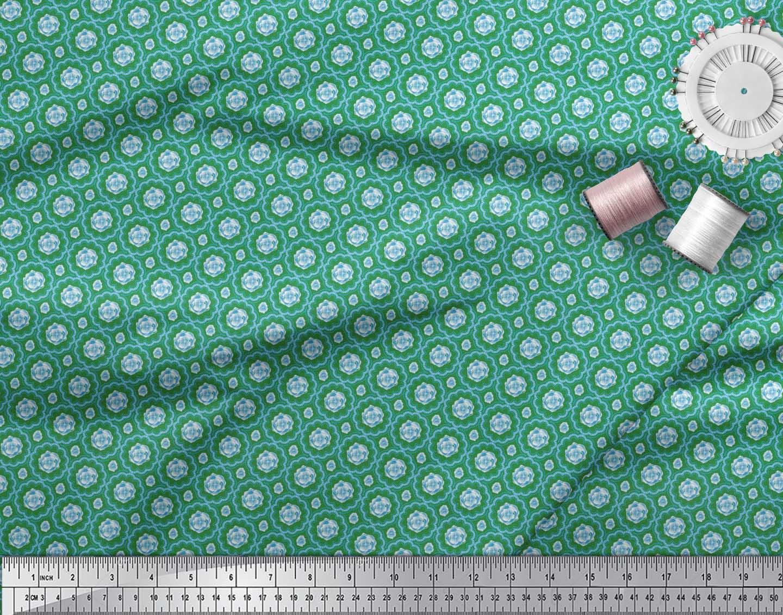 Soimoi-Green-Cotton-Poplin-Fabric-Artistic-Flower-Damask-Printed-50g thumbnail 3