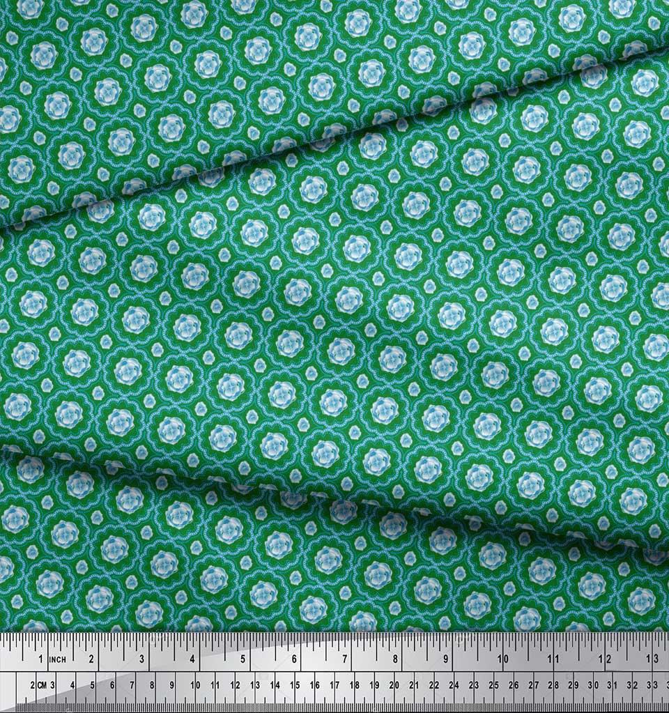 Soimoi-Green-Cotton-Poplin-Fabric-Artistic-Flower-Damask-Printed-50g thumbnail 4