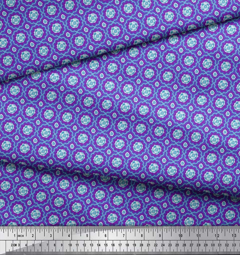 Soimoi-Purple-Cotton-Poplin-Fabric-Artistic-Flower-Damask-Print-fgu thumbnail 4