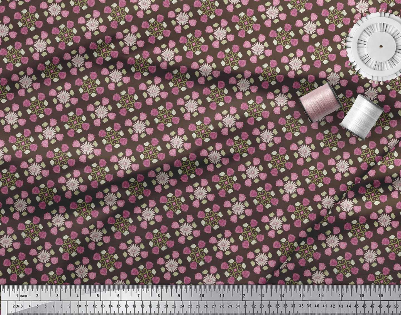 Soimoi-Brown-Cotton-Poplin-Fabric-Aster-amp-Roses-Damask-Decor-Fabric-O1e thumbnail 3