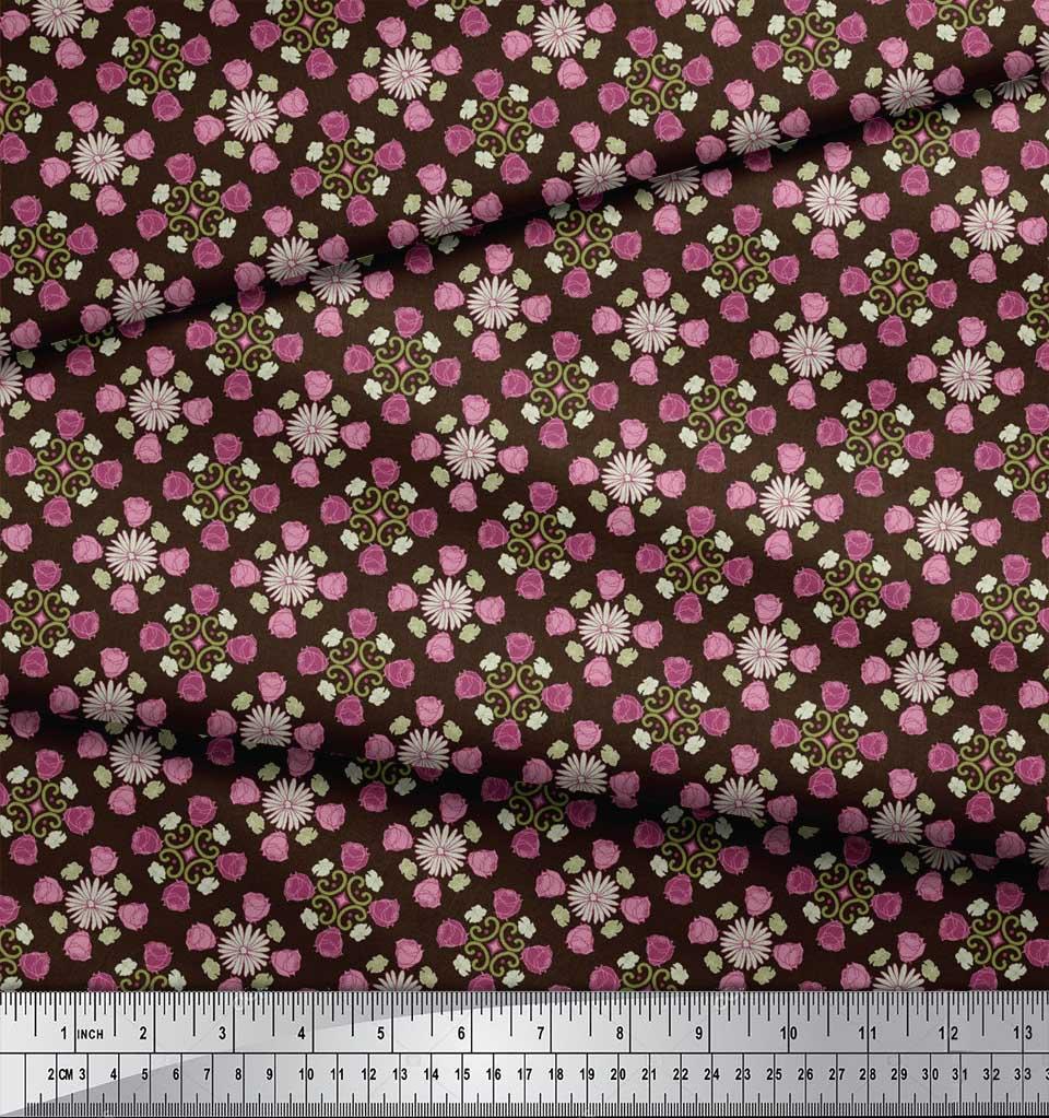 Soimoi-Brown-Cotton-Poplin-Fabric-Aster-amp-Roses-Damask-Decor-Fabric-O1e thumbnail 4