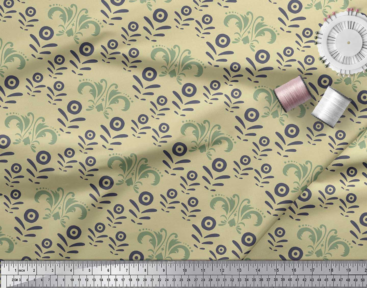 Soimoi-Beige-Cotton-Poplin-Fabric-Filigree-Damask-Print-Fabric-by-xVG thumbnail 3