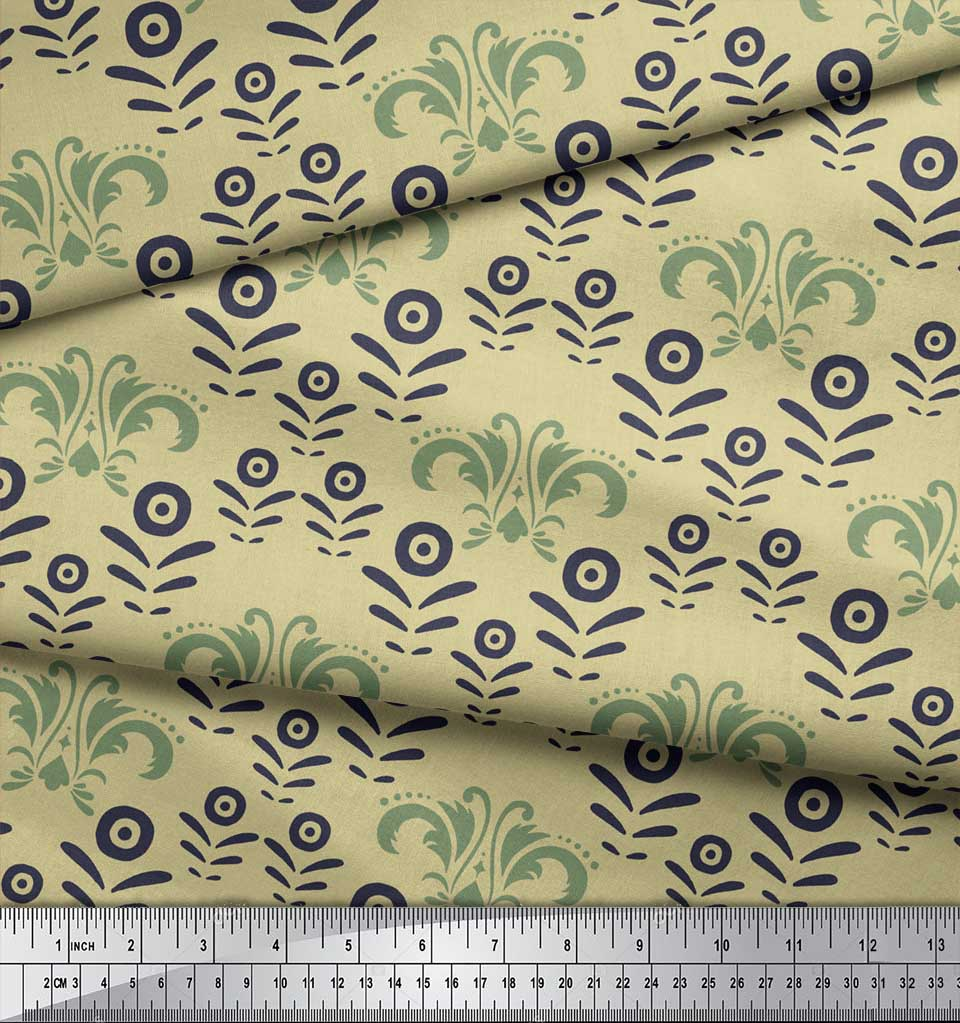 Soimoi-Beige-Cotton-Poplin-Fabric-Filigree-Damask-Print-Fabric-by-xVG thumbnail 4