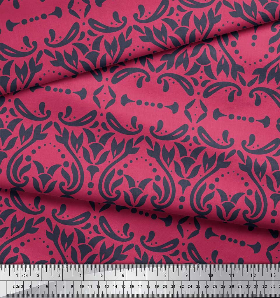 Soimoi-Pink-Cotton-Poplin-Fabric-Moroccan-Damask-Print-Fabric-by-lAa thumbnail 3