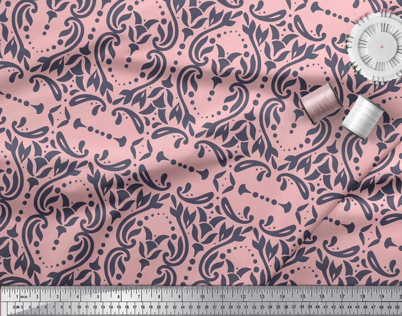 Soimoi-Pink-Cotton-Poplin-Fabric-Moroccan-Damask-Print-Fabric-by-51t thumbnail 3