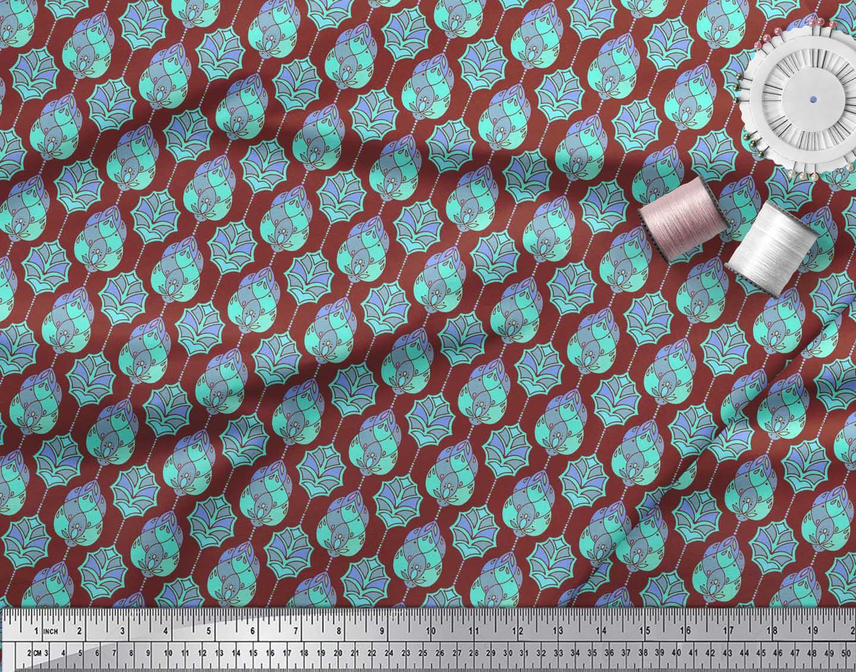 Soimoi-Red-Cotton-Poplin-Fabric-Moroccan-Damask-Print-Fabric-by-ZGT thumbnail 4
