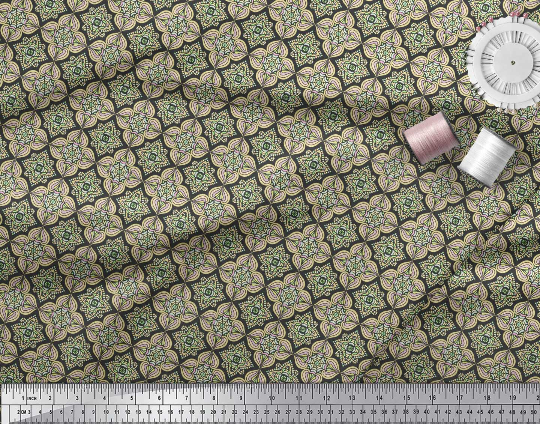 Soimoi-Black-Cotton-Poplin-Fabric-Filigree-Damask-Print-Fabric-by-BRE thumbnail 3