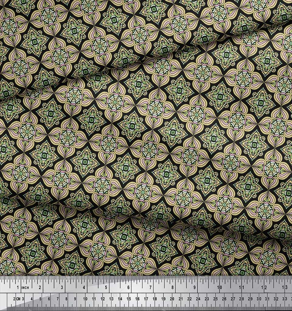 Soimoi-Black-Cotton-Poplin-Fabric-Filigree-Damask-Print-Fabric-by-BRE thumbnail 4