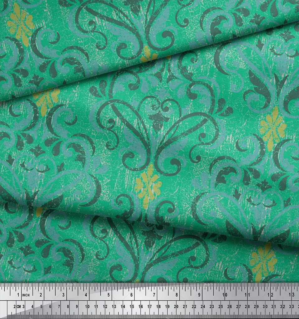 Soimoi-Green-Cotton-Poplin-Fabric-Vector-Design-Damask-Fabric-Prints-Zma thumbnail 3