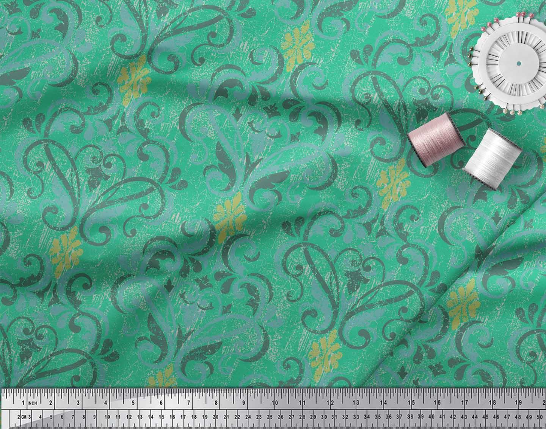 Soimoi-Green-Cotton-Poplin-Fabric-Vector-Design-Damask-Fabric-Prints-Zma thumbnail 4
