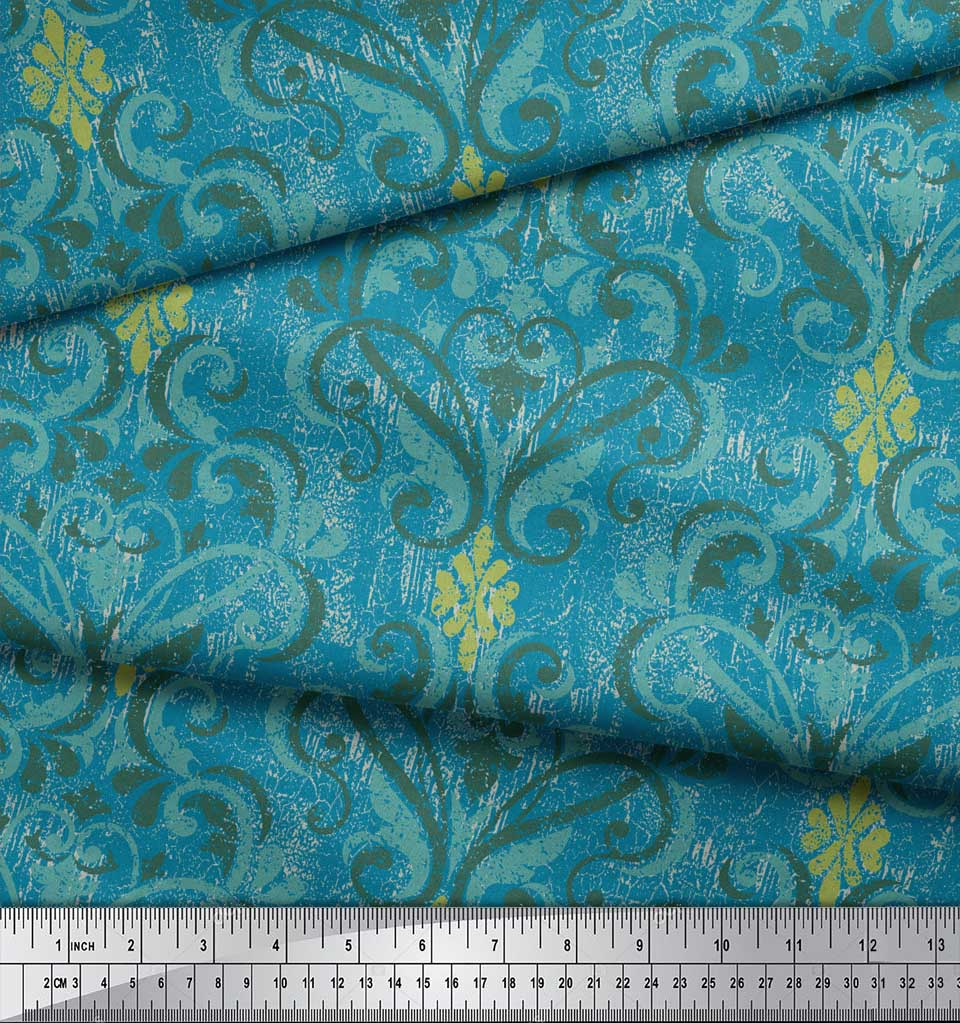 Soimoi-Blue-Cotton-Poplin-Fabric-Vector-Design-Damask-Print-Fabric-BR1 thumbnail 3