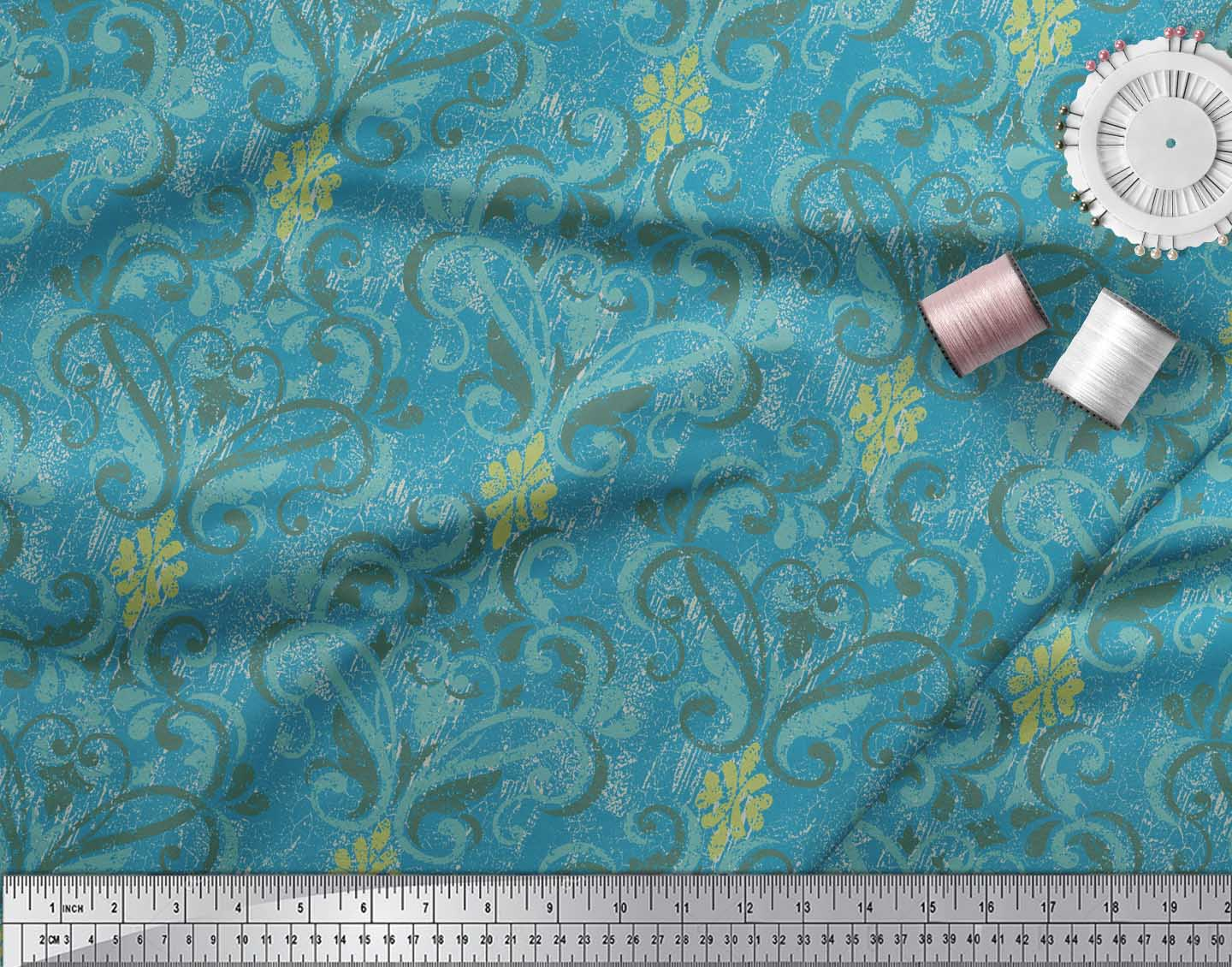 Soimoi-Blue-Cotton-Poplin-Fabric-Vector-Design-Damask-Print-Fabric-BR1 thumbnail 4