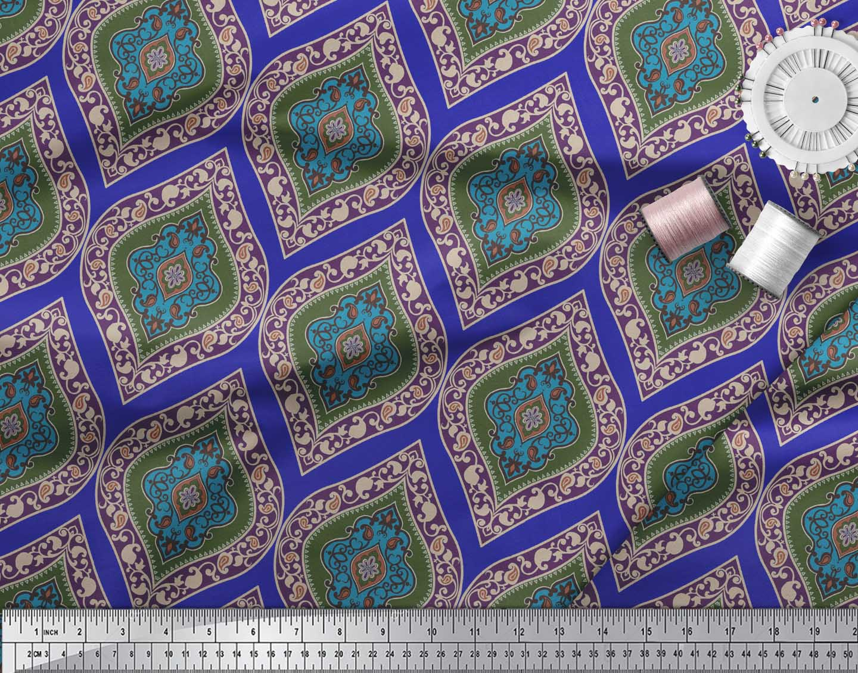 Soimoi-Blue-Cotton-Poplin-Fabric-Seamless-Damask-Print-Fabric-by-KuI thumbnail 4