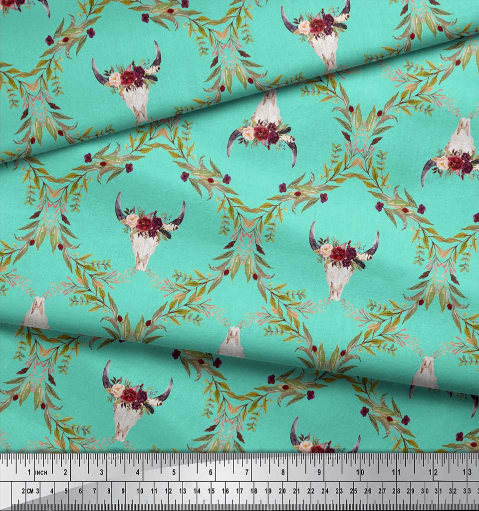 Soimoi-Green-Cotton-Poplin-Fabric-Floral-amp-Cow-Skull-Head-Damask-cna thumbnail 3