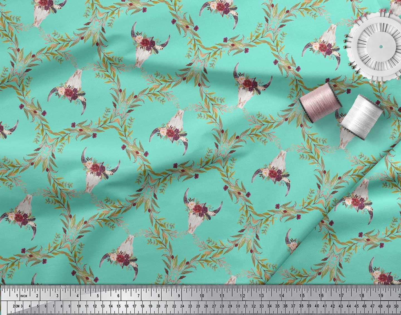 Soimoi-Green-Cotton-Poplin-Fabric-Floral-amp-Cow-Skull-Head-Damask-cna thumbnail 4