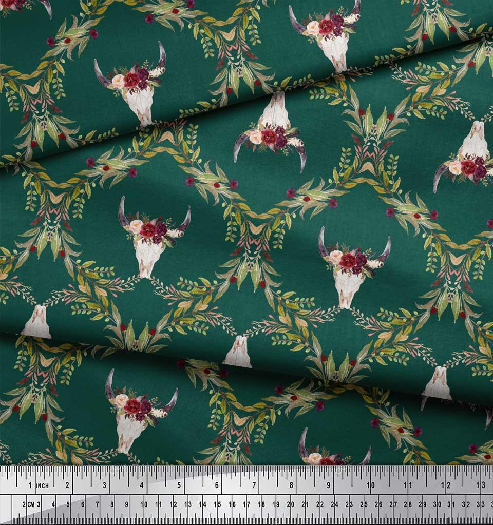 Soimoi-Green-Cotton-Poplin-Fabric-Floral-amp-Cow-Skull-Head-Damask-Zrd thumbnail 3