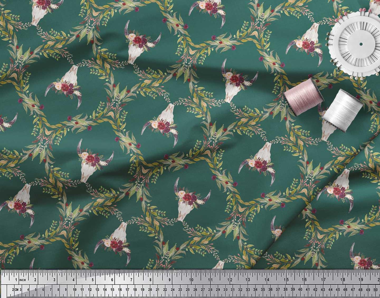 Soimoi-Green-Cotton-Poplin-Fabric-Floral-amp-Cow-Skull-Head-Damask-Zrd thumbnail 4