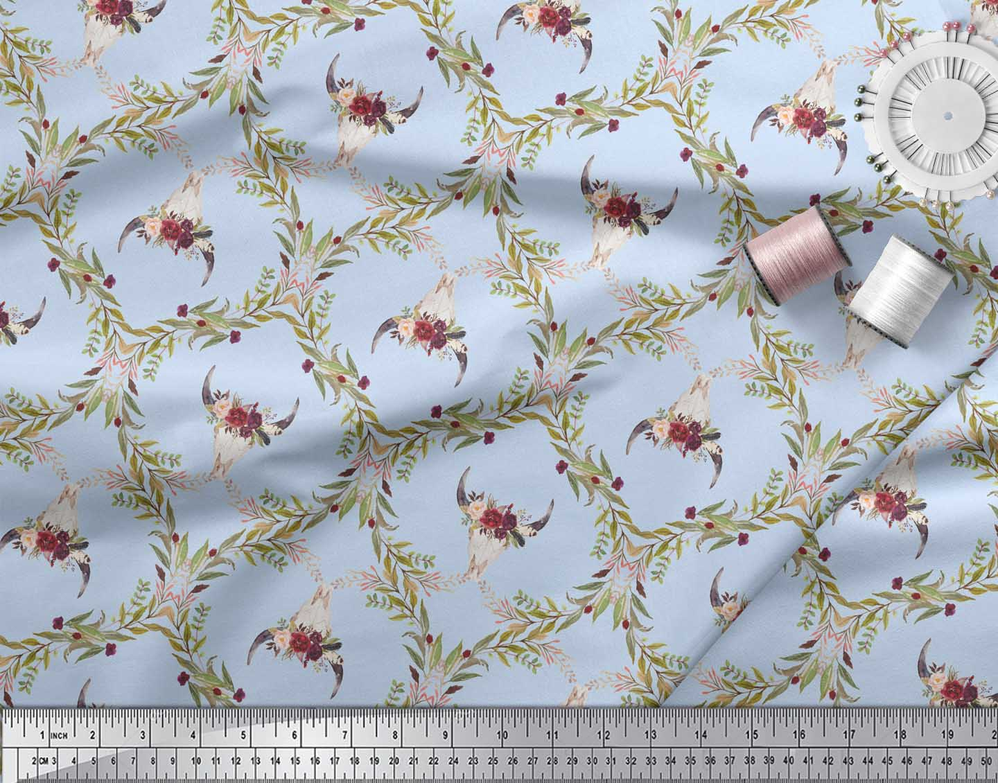 Soimoi-Blue-Cotton-Poplin-Fabric-Floral-amp-Cow-Skull-Head-Damask-07Z thumbnail 3