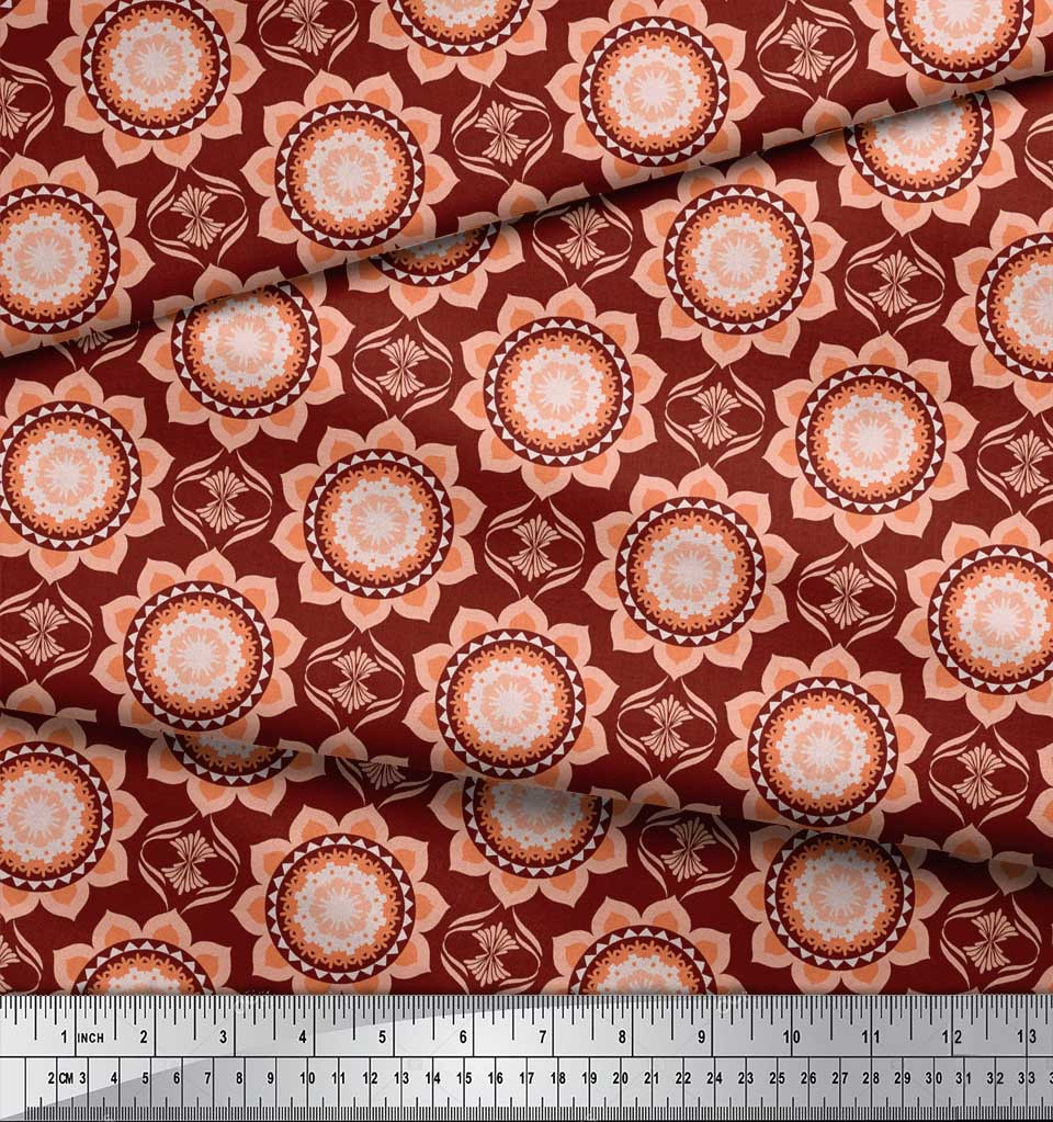 Soimoi-Red-Cotton-Poplin-Fabric-Vector-Design-Damask-Printed-Craft-cHV thumbnail 4