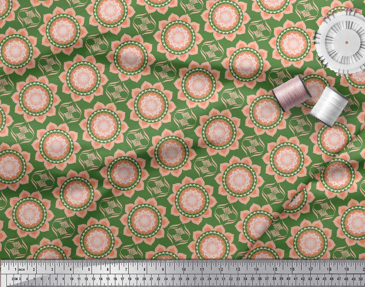 Soimoi-Green-Cotton-Poplin-Fabric-Vector-Design-Damask-Decor-Fabric-hzC thumbnail 3