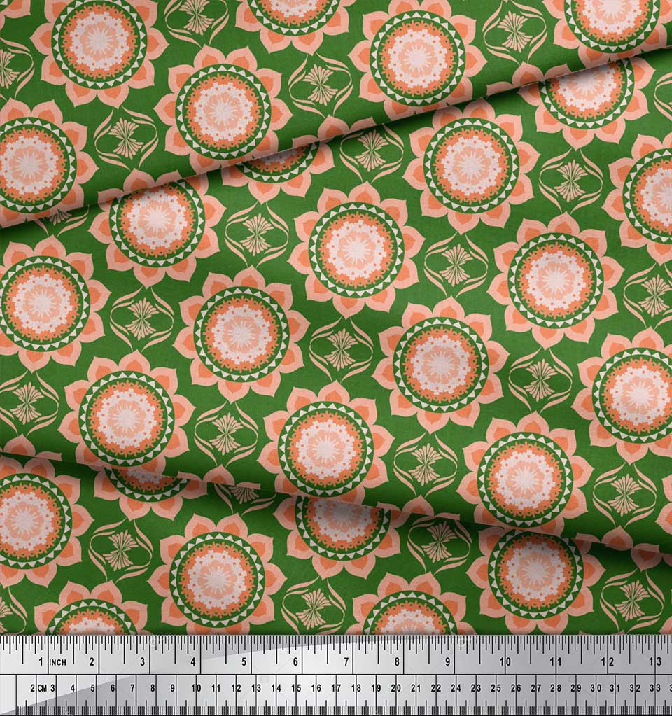 Soimoi-Green-Cotton-Poplin-Fabric-Vector-Design-Damask-Decor-Fabric-hzC thumbnail 4