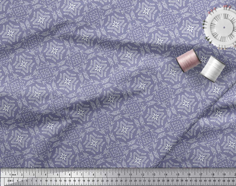 Soimoi-Purple-Cotton-Poplin-Fabric-Seamless-Damask-Printed-Fabric-8Vu thumbnail 3