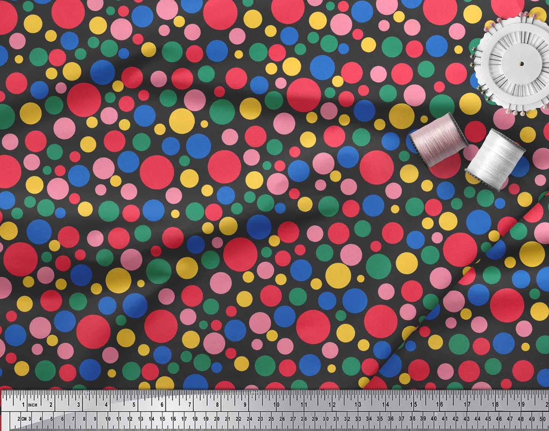 Soimoi-Black-Cotton-Poplin-Fabric-Polka-Dots-Printed-Craft-Fabric-Oaz thumbnail 3