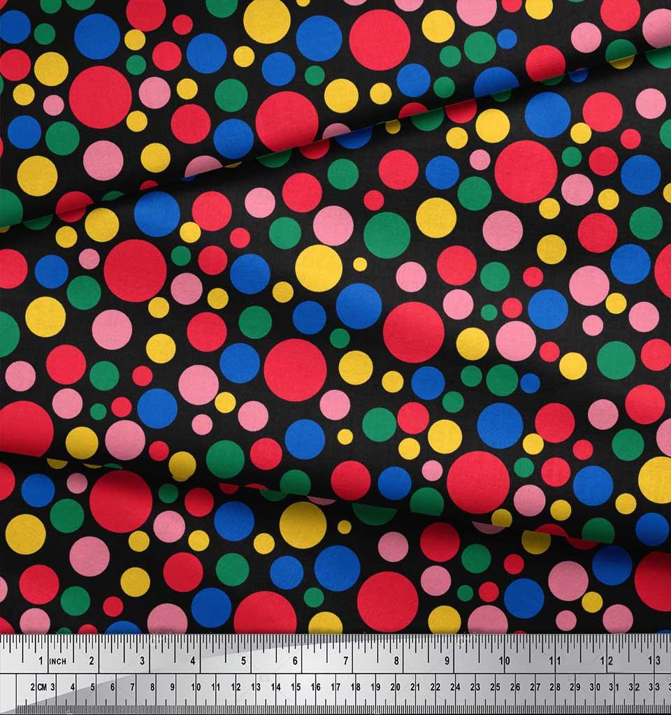 Soimoi-Black-Cotton-Poplin-Fabric-Polka-Dots-Printed-Craft-Fabric-Oaz thumbnail 4