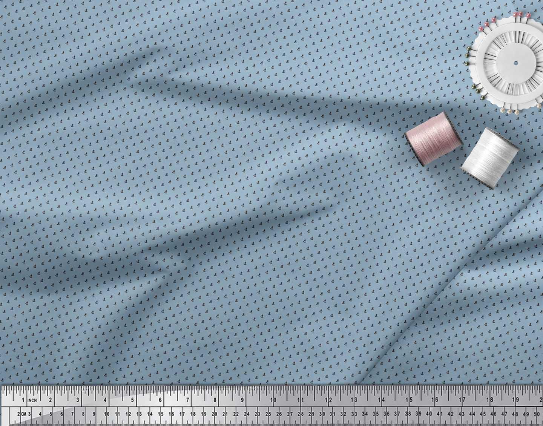 Soimoi-Brown-Cotton-Poplin-Fabric-Polka-Dots-Print-Fabric-by-the-ky0 thumbnail 3