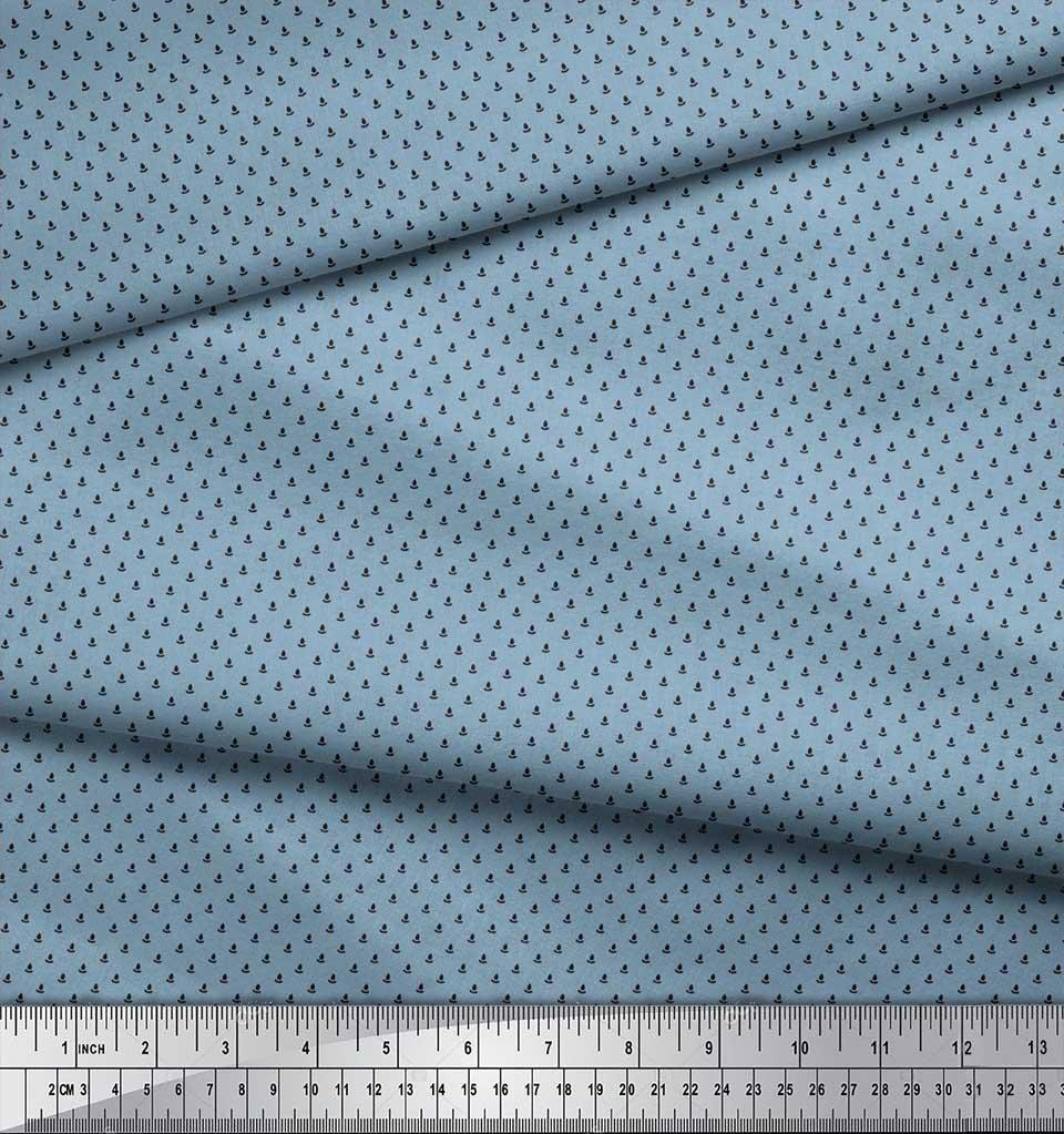 Soimoi-Brown-Cotton-Poplin-Fabric-Polka-Dots-Print-Fabric-by-the-ky0 thumbnail 4