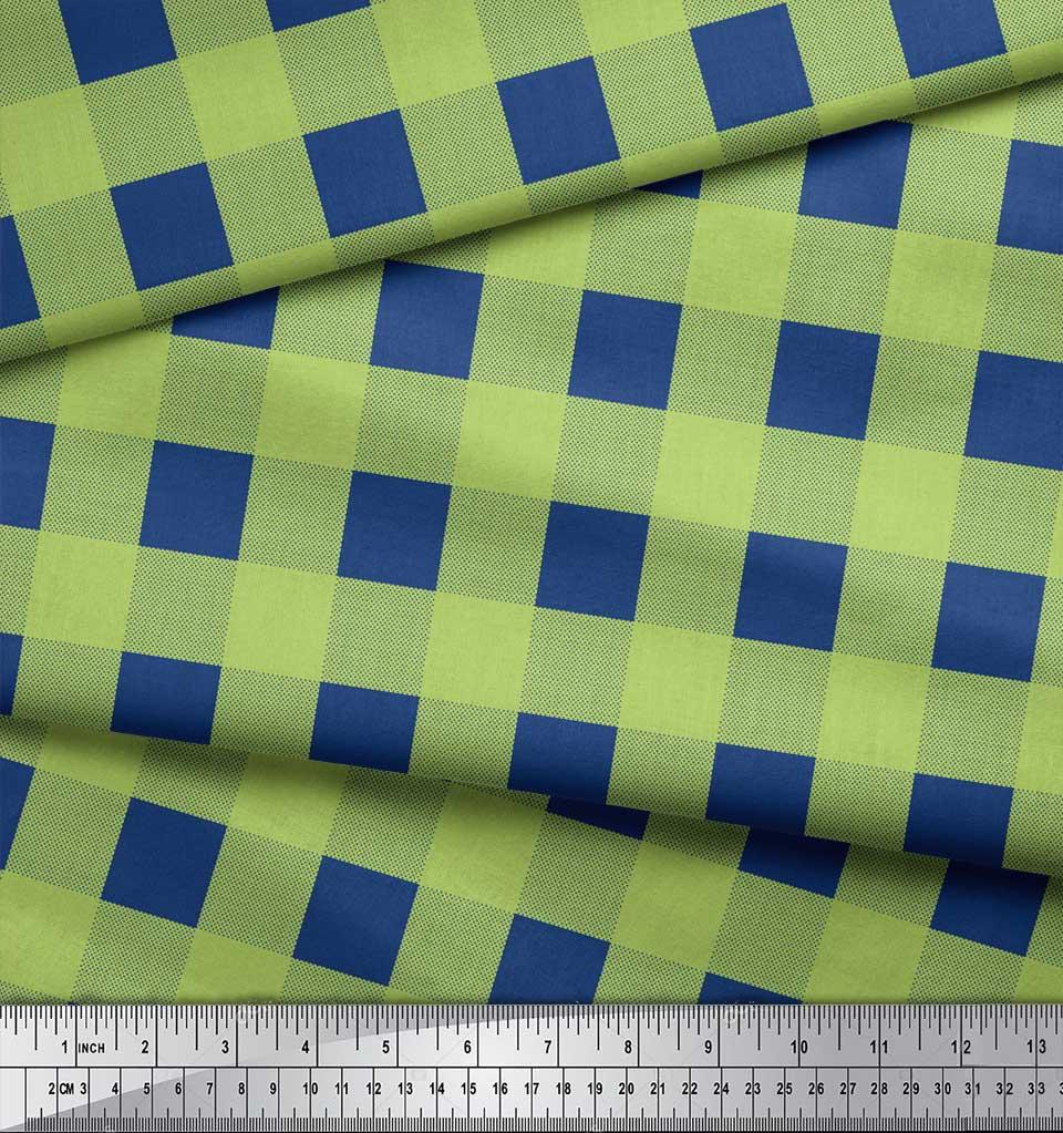Soimoi-Green-Cotton-Poplin-Fabric-Check-amp-Dots-Print-Fabric-by-the-uw0 thumbnail 3