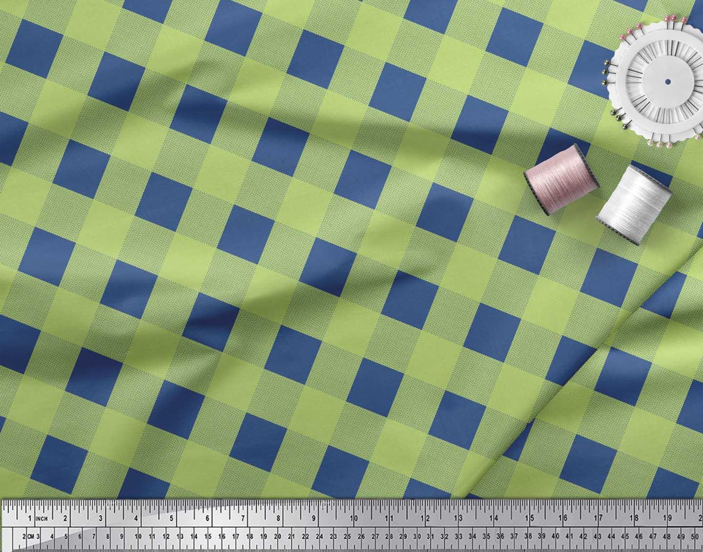 Soimoi-Green-Cotton-Poplin-Fabric-Check-amp-Dots-Print-Fabric-by-the-uw0 thumbnail 4