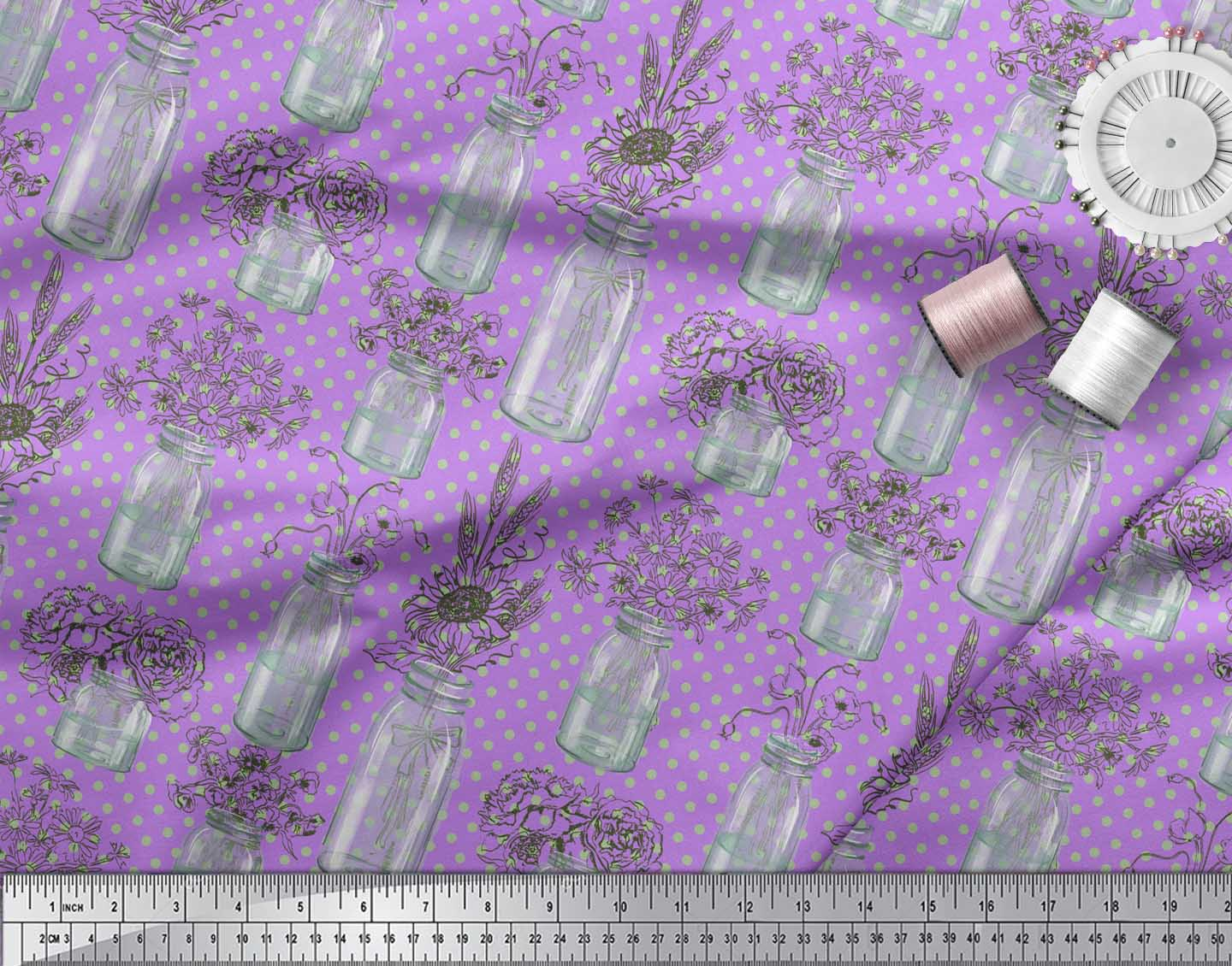 Soimoi-Purple-Cotton-Poplin-Fabric-Bottle-Vase-amp-Sunflower-Dots-4Ah thumbnail 3