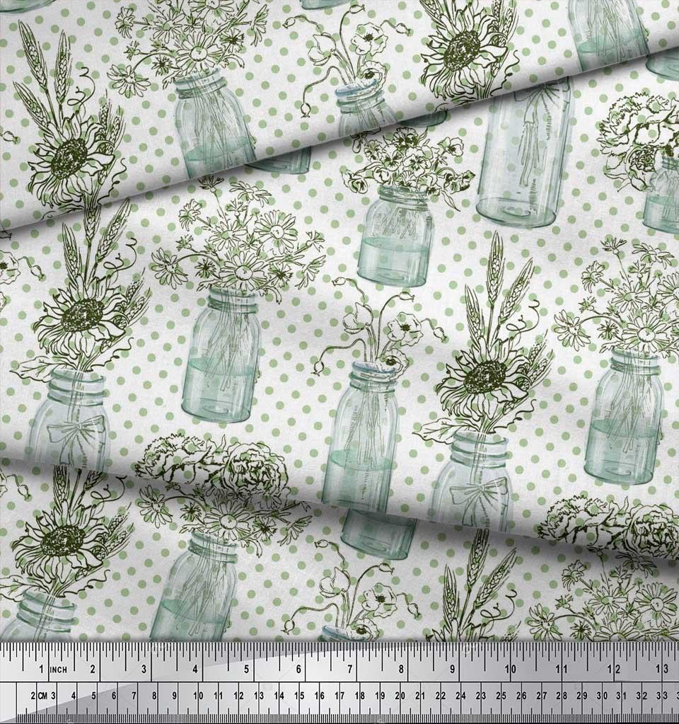 Soimoi-White-Cotton-Poplin-Fabric-Bottle-Vase-amp-Sunflower-Dots-Print-bW2 thumbnail 3