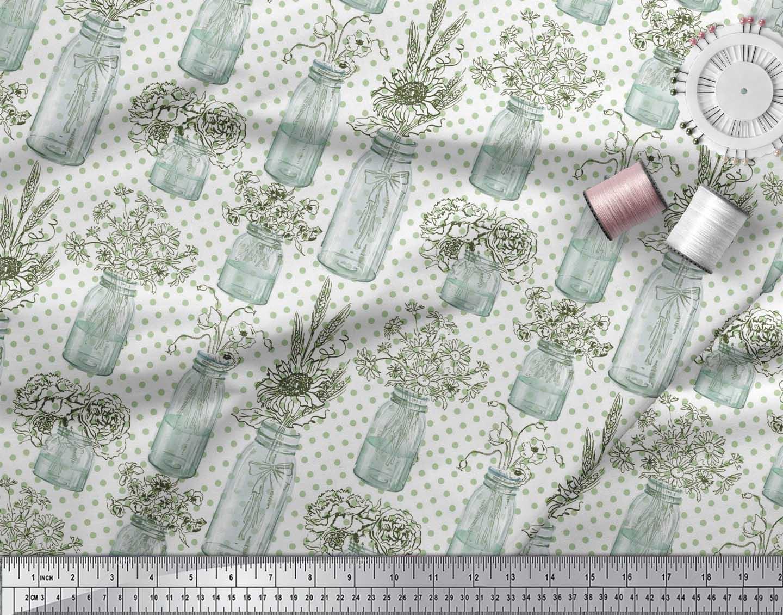Soimoi-White-Cotton-Poplin-Fabric-Bottle-Vase-amp-Sunflower-Dots-Print-bW2 thumbnail 4