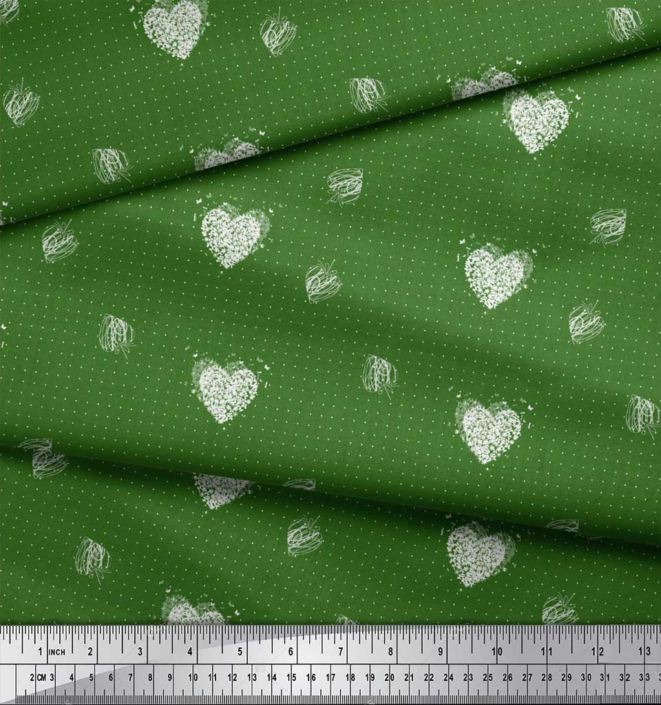 Soimoi-Green-Cotton-Poplin-Fabric-Heart-amp-Dots-Print-Fabric-by-the-6LZ thumbnail 4