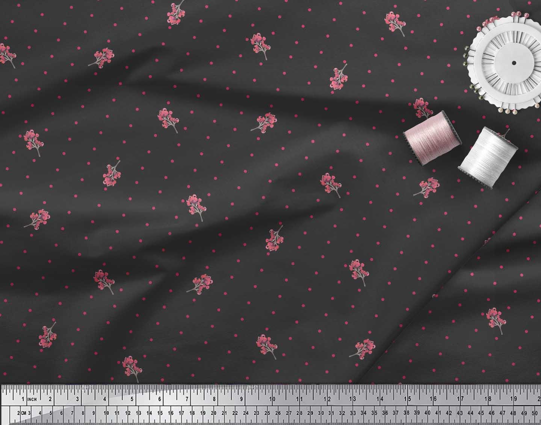 Soimoi-Black-Cotton-Poplin-Fabric-Berries-amp-Dots-Print-Sewing-Fabric-Nvo thumbnail 4
