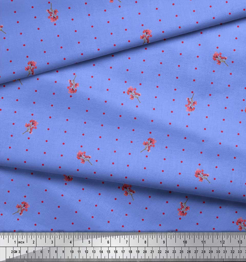 Soimoi-Blue-Cotton-Poplin-Fabric-Berries-amp-Dots-Print-Fabric-by-boG thumbnail 3