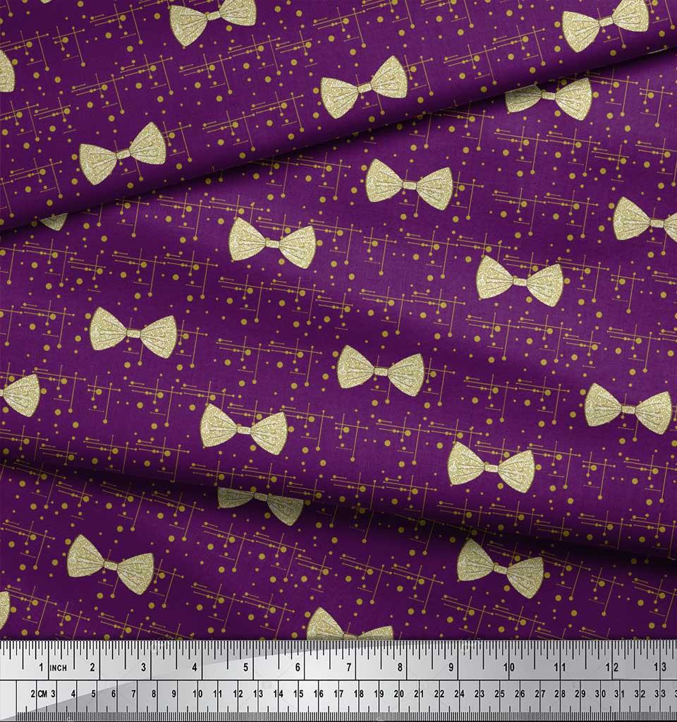Soimoi-Purple-Cotton-Poplin-Fabric-Bow-amp-Dots-Print-Fabric-by-metre-wdU thumbnail 3