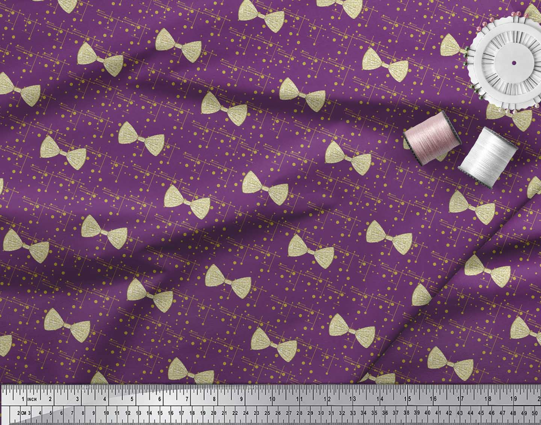 Soimoi-Purple-Cotton-Poplin-Fabric-Bow-amp-Dots-Print-Fabric-by-metre-wdU thumbnail 4