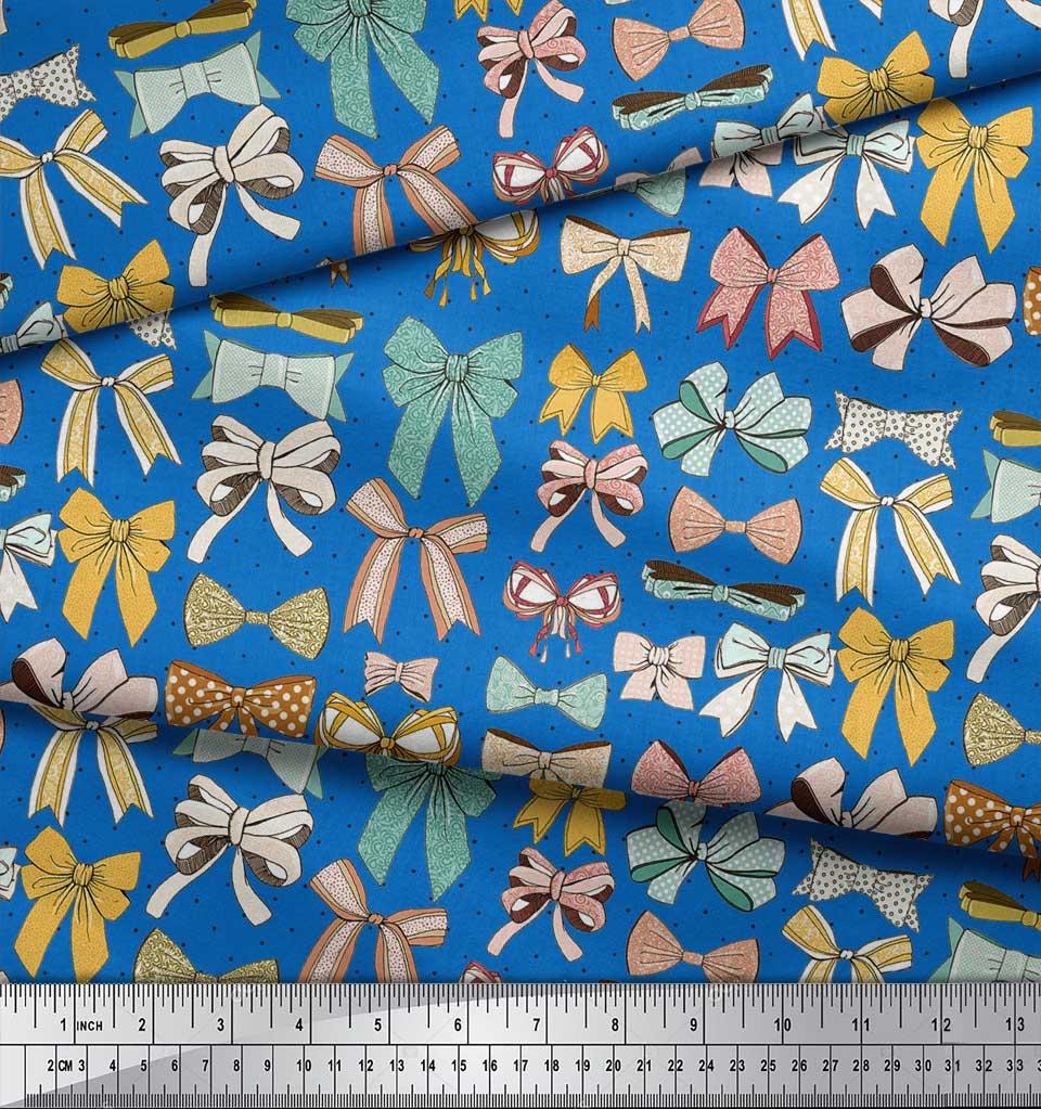Soimoi-Blue-Cotton-Poplin-Fabric-Multi-Bow-amp-Dots-Print-Fabric-by-K23 thumbnail 3