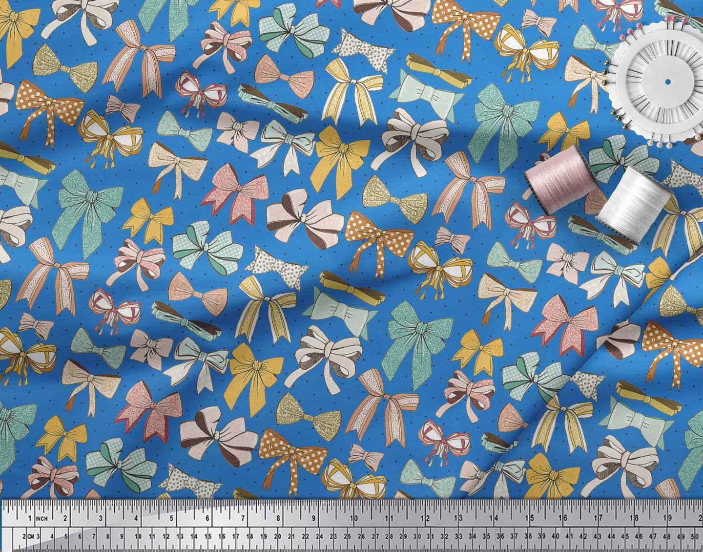 Soimoi-Blue-Cotton-Poplin-Fabric-Multi-Bow-amp-Dots-Print-Fabric-by-K23 thumbnail 4