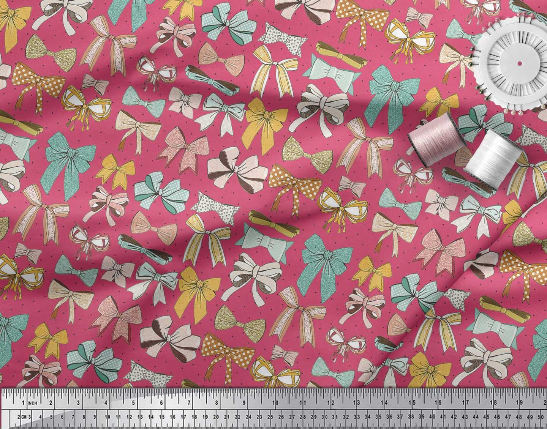 Soimoi-Pink-Cotton-Poplin-Fabric-Multi-Bow-amp-Dots-Print-Fabric-by-T7J thumbnail 3
