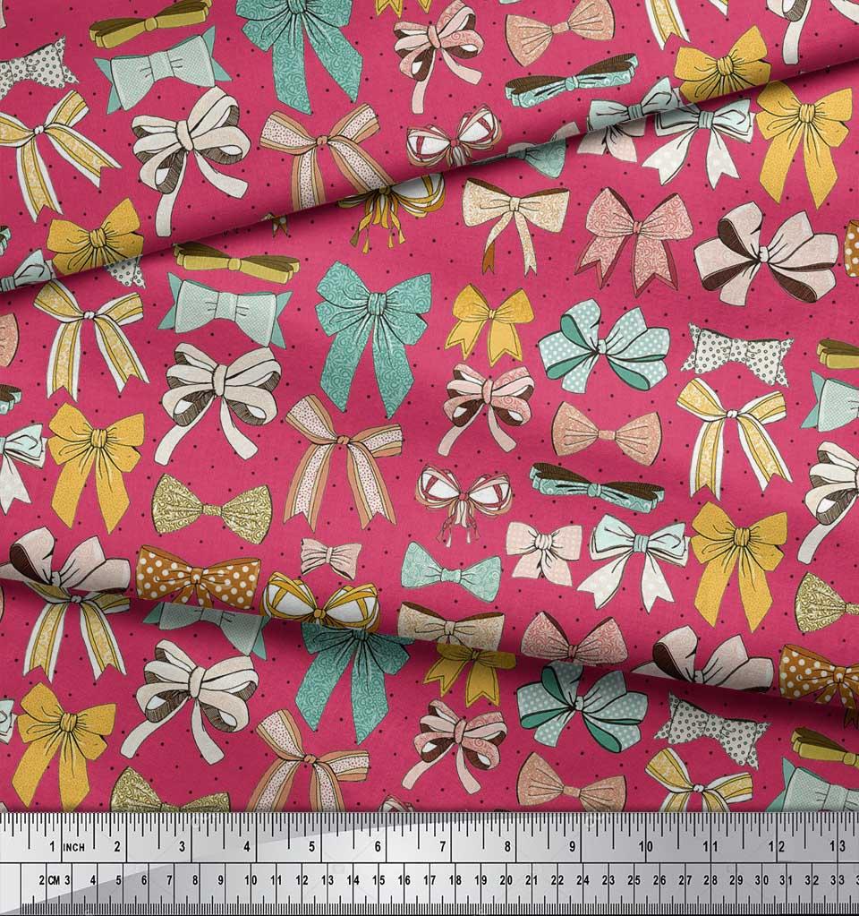 Soimoi-Pink-Cotton-Poplin-Fabric-Multi-Bow-amp-Dots-Print-Fabric-by-T7J thumbnail 4