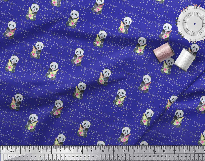 Soimoi-Blue-Cotton-Poplin-Fabric-Bottle-amp-Panda-Dots-Print-Fabric-f85 thumbnail 3