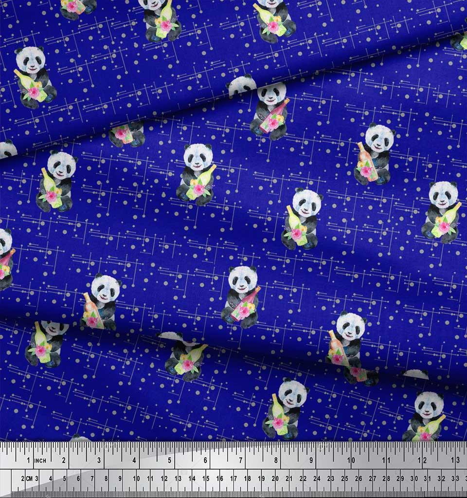 Soimoi-Blue-Cotton-Poplin-Fabric-Bottle-amp-Panda-Dots-Print-Fabric-f85 thumbnail 4